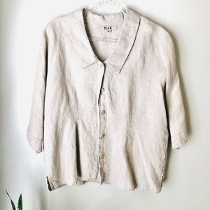 FLAX Boxy Lagenlook Linen Button Top | M